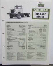 1977 Mack Trucks Model RD 685P Diagram Dimensions Sales Brochure Original
