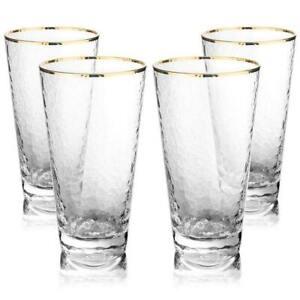 12 oz Gold Rim Hammered Highball Glasses, Set of 4