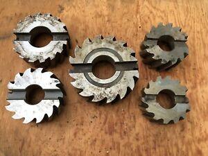 "Set Of 5 Assorted Horizontal Shell Mill Cutters  4"" - 6"" Diameter (Lot 17)"