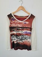 Franc Franc Graphic Print Milano Top Knit Jumper Pullover Women's Size 3 ~ SMALL