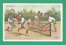 VINTAGE ARTHUR THIELE COMIC ART POSTCARD DRESSED CATS PLAY TENNIS