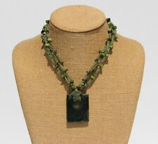 Spinach Green Nephrite Jade Beaded Fabric Necklace with Pendant & Carved Clasp