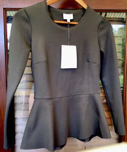 BNWT Witchery Green Grey Ponte Peplum Long Sleeve Top Blouse Shirt Xxs 6-8 NEW