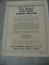 David Bradley Super Power 2 Wheel Garden Tractor Operators Manual