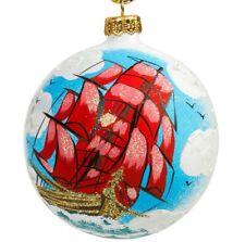 "4"" White Christmas Ball Glass Ornament w/ Scarlet Crimson Sails Pattern HANDMADE"
