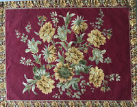 April Cornell Placemats Red Green Yellow Floral Flowers Cotton Lot 6