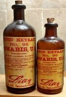 Vintage Medicine Hand Crafted Bottle, 2 Cannabis Fluid Extract , Lilly
