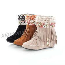 Winter Womens Ankle Boot BOHO Hidden Wedge Flower Tassel Pull On Shoes All UK Sz