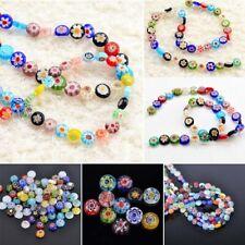 Flower Glass Beads Spacer Crystal Lampwork Millefiori Charm DIY Bracelet Jewelry