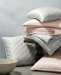 Hotel Collection Quilted KING SHAM Cotton / Silk Grey 316