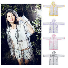 CLEAR SEE THROUGH VINYL RAINCOAT TRANSPARENT PVC MAC CASUAL FESTIVAL JACKET - UK