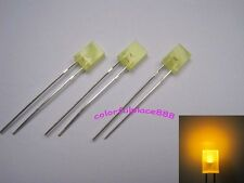 100pcs 2x5x7mm Yellow Diffused LED Rectangle Rectangular Leds + Resistor for 12V