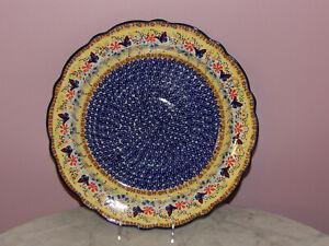 Polish Pottery Large Scalloped Platter! UNIKAT Signature Butterfly Summer!