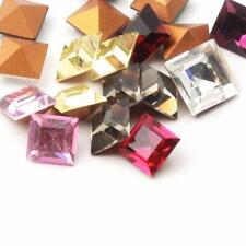 (18) 8mm Czech vintage square faceted mixed Swarovski glass rhinestones