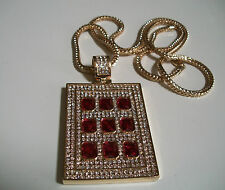 """Gold Finish Hip hop Bling Red Ruby Rapper Style Pendant With 36"""" Franco Chain"""
