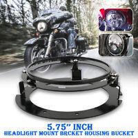 """5.75"""" 5 3/4 Zoll Haupt LED Scheinwerfer Montagering Halterung Für Harley Schwarz"""