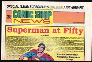 CSN COMIC SHOP NEWS # 36 1988 RARE SUPERMAN ISSUE 16 WHO MADE HIM GREAT