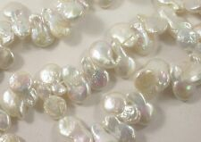 10 x 15-17 mm High Luster Natural White Top Drilled Teardrop Coin Pearls (#586)