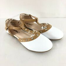 Jelly Beans Girls Flats Shoes Studded T Strap Faux Leather White Brown Size 2