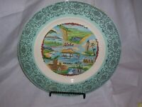 Vintage Hawaii Souvenir Plate Turquoise and silver trimmed