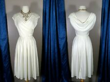 Vintage 1970s Party Dress XS/X Draped Surplice Wrap Deep-V Ivory Disco Jersey