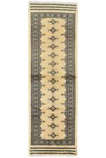 Bokhara Jaldar Runner 3'x8' Beige Wool Tribal Hand-Knotted Oriental Rug