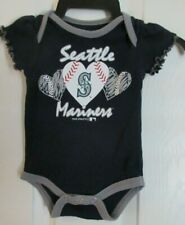 Seattle Mariners Infant Girls Sz 0-3 Mo One Piece Snap T-shirt Ruffle Sleeves