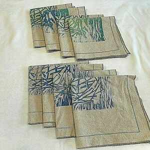 "8 Silk Screened Cloth Napkins by Flaim Designs Natural Fabric & Design 15"" x 15"""