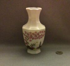 "Oriental Furniture 6"" Pink Cherry Blossom Hexagonal Porcelain Vase"