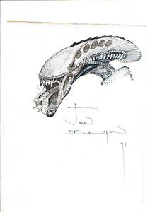 Original signed Sketch Art by John Bolton Aliens / Alien (signiert)