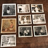 Vintage Christmas Photographs Children Grandmother Tinsel Tree Toys 1960s Photo