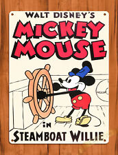 "TIN SIGN ""Steamboat Willie Cartoon"" Disney Mickey Mouse Wall Decor"