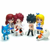 "Fairy Tail 6 pcs 2"" Cute Mini Figures Toy Set: Natsu Lucy Gray Erza Happy & Plue"