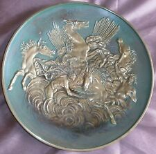 Max Le Verrier Grand plat vintage bronze massif : Les chevaux d' Apollon Ø 33,5