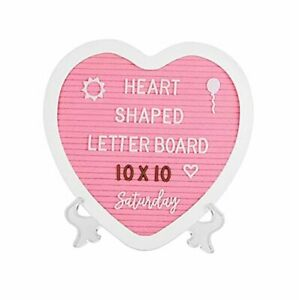 Heart-Shaped Felt Letter Board Message Sign - 10x10 inches Message Heart Pink
