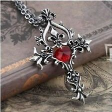 New Vampire Diaries Red Sacred Heart Crystal Memorial cross necklace pendant