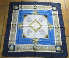T. beau grand foulard classique PIERRE BALMAIN twill soie silk scarf Anges TBE