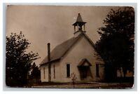Vintage 1900's RPPC Postcard Old School House in Rural America - NICE