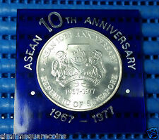 1977 Singapore 10th Anniversary of Asean $10 1 oz .500 Fine Silver Coin