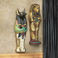Ancient Egyptian Boy King Tut & Jackal God Anubis Sarcophagus Wall Sculpture 2pc