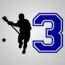 Lacrosse player vinyl wall sticker,lacrosse varsity number silhouette stickers