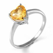 1.1ct Lovely Genuine Citrine Heart Solid Sterling Silver Ring Size 8 SPECIAL