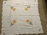 Vintage Sunflower/Bees Cross Stitch 39 x 39 Linen Tablecloth Crafts