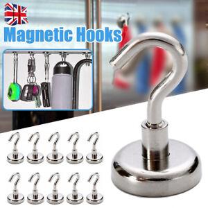 5/10X Pack Heavy Duty Magnetic Hooks Hanger Hold Neodymium Strong Magnet Set W