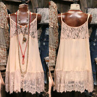 Women's Strappy Crochet Floral Lace Sheer Summer Beach Holiday Short Slip Dress