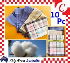 10PC  Mens HANDKERCHIEFS 100%Pure Cotton Pocket Square Hanky Handkerchief New AU