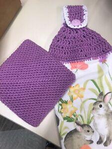 Easter Hanging Kitchen Dish Towel with Crochet Top & Crochet Pot Holder Set