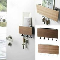 Wall Mounted Wooden Key Letter Holder Storage Box Hanger Shelf Hook Home 1 Piece