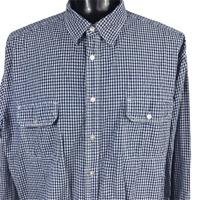 St Johns Bay Mens Shirt SZ 3XLT Blue White Check Plaid Button Pocket XXXLT TALL