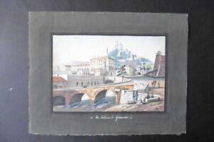 ITALIAN SCHOOL 19thC - CITYSCAPE GENOVA - GRANAROLO - GOUACHE DRAWING